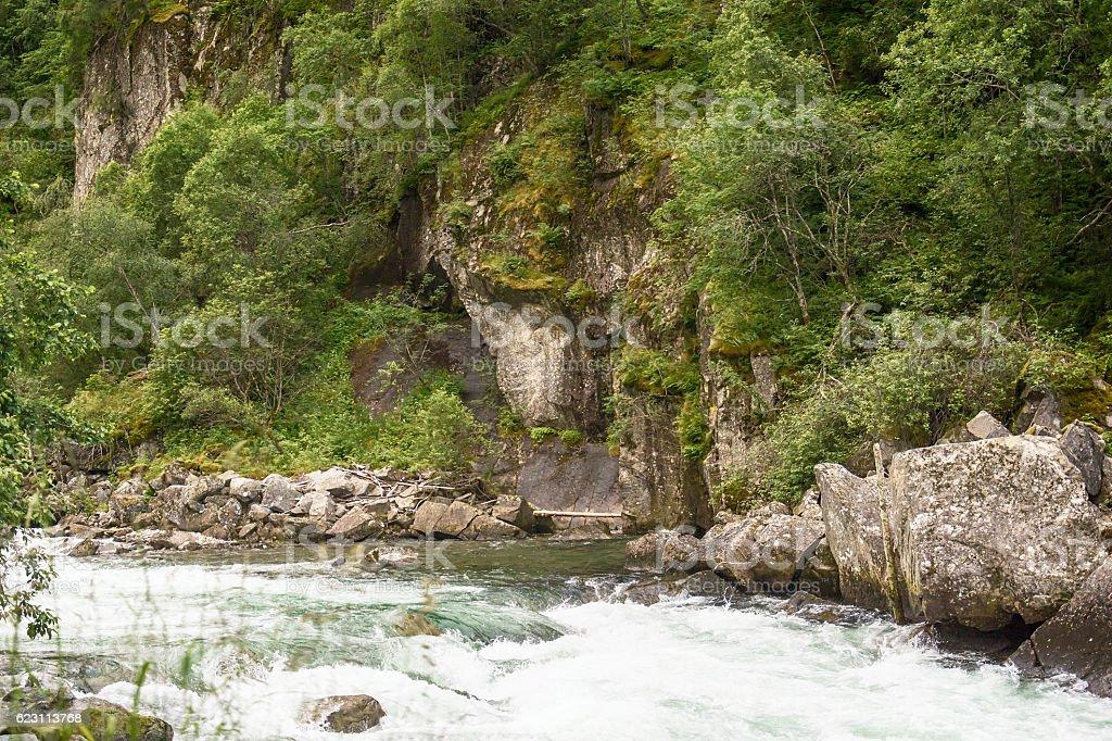 Rapid river in Norway stock photo