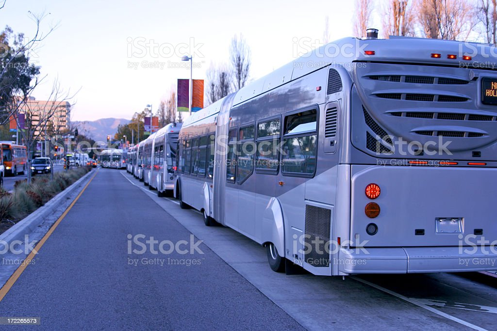 Rapid Transit Buses accordion bus articulated bendy stock photo