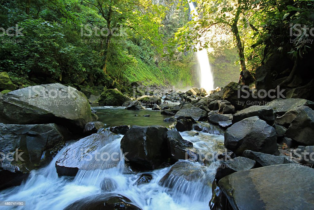 Rapids at La Fortuna Waterfall stock photo