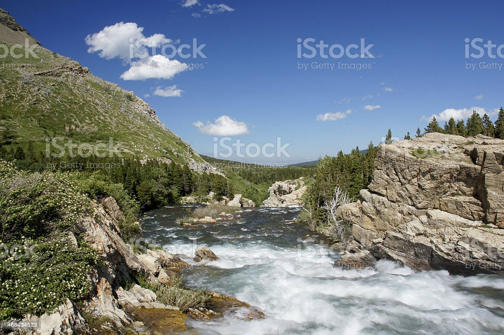 Rapids in Glacier National Park stock photo