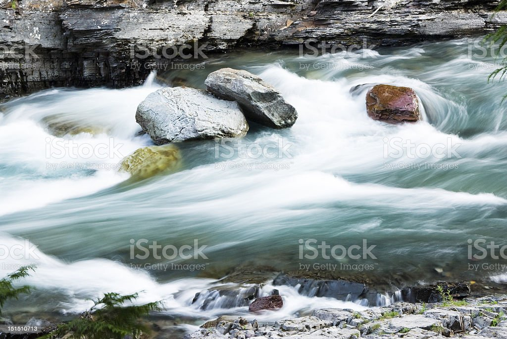 Rapids in McDonald Creek stock photo