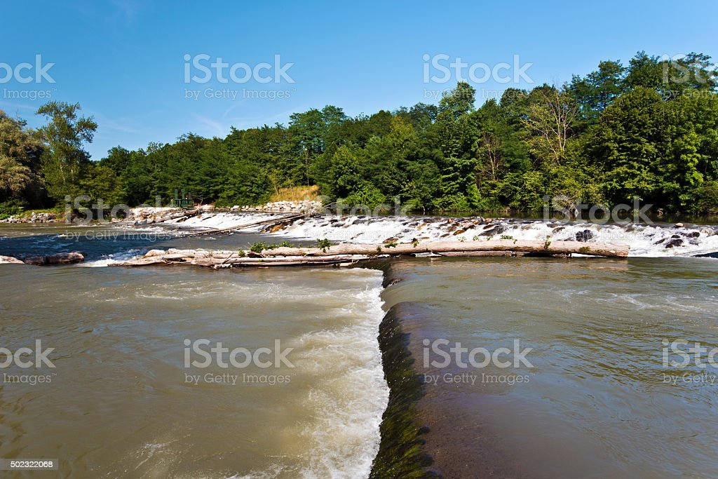 Rapids of Gave-de-Pau River in French Pyrenees stock photo