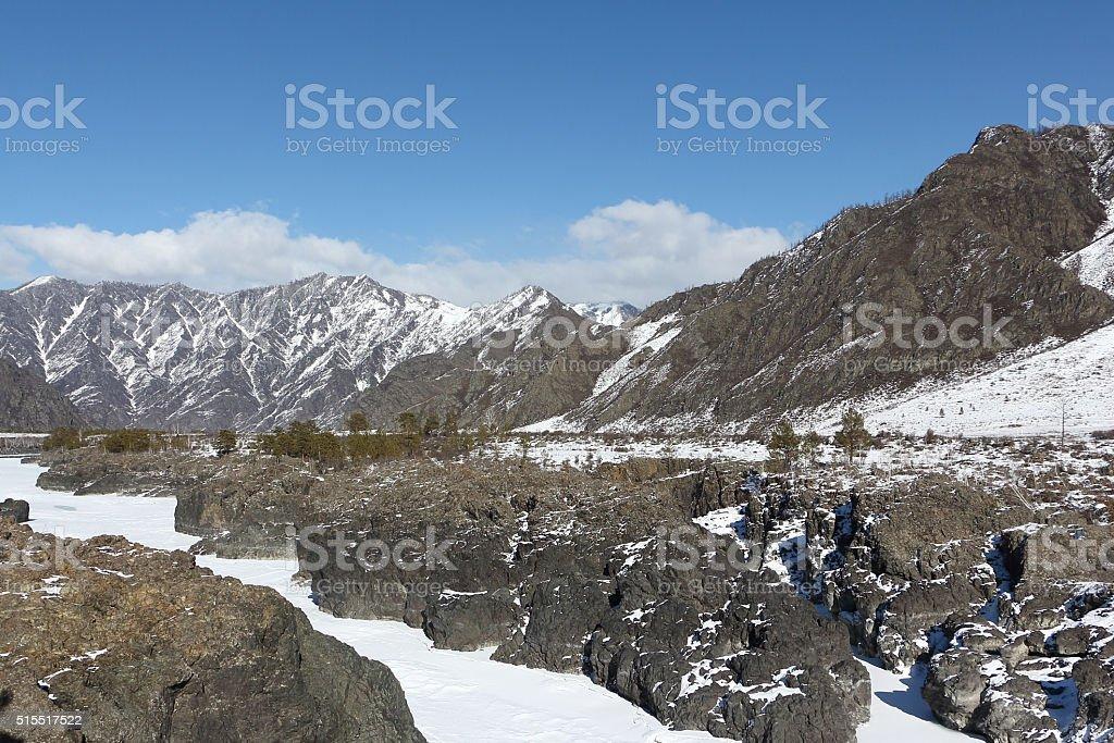 Rapids of Teldykpen on the frozen river  Katun, Altai , Russia stock photo