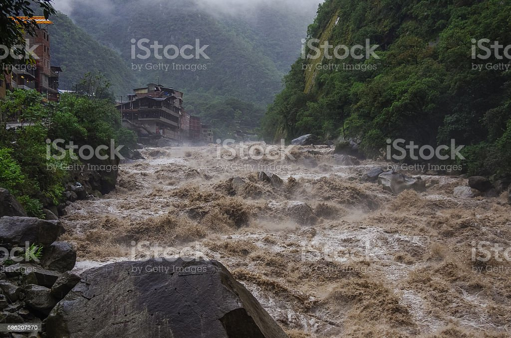 Rapids of Urubamba river near Aguas Calientes stock photo