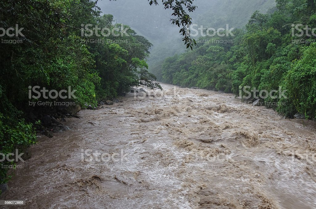 Rapids of Urubamba river near Aguas Calientes village stock photo