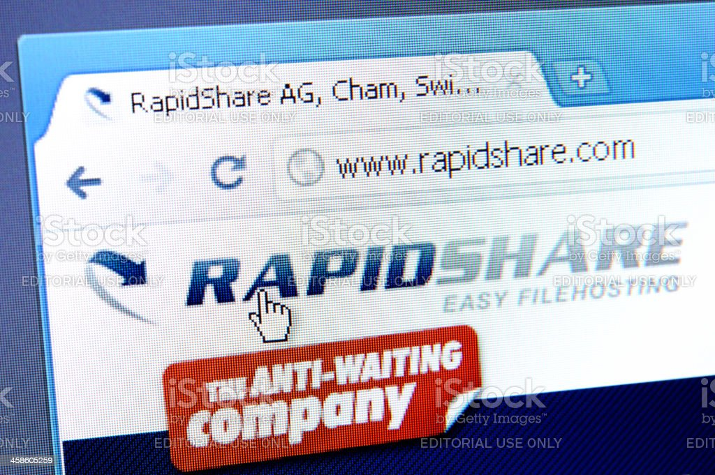 Rapidshare webpage on the browser royalty-free stock photo