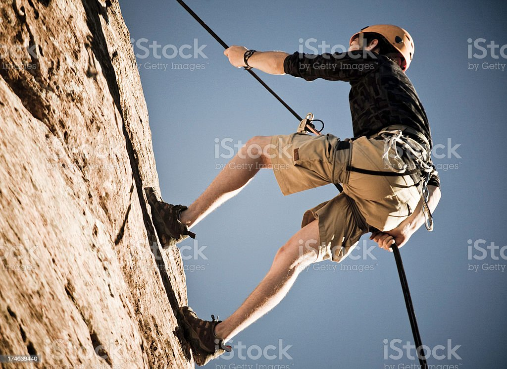 Rappelling Adventure stock photo