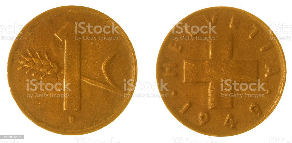 1 rappen 1949 coin isolated on white background, Switzerland stock photo