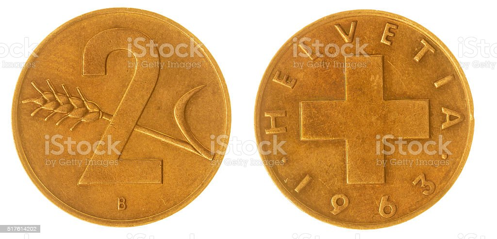 2 rappen 1963 coin isolated on white background, Switzerland stock photo
