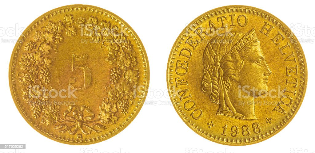 5 rappen 1988 coin isolated on white background, Switzerland stock photo