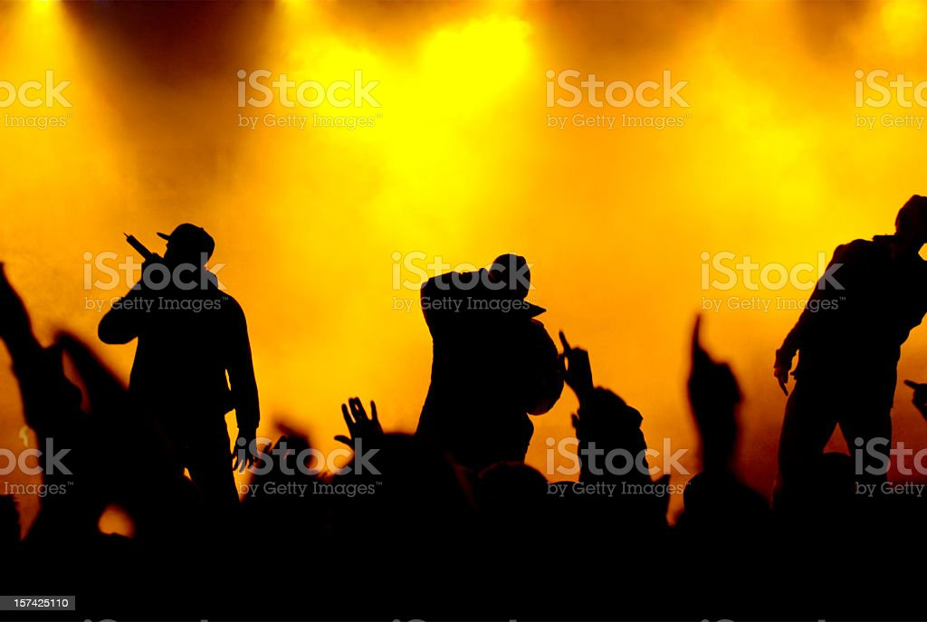 rapper on concert stage stock photo