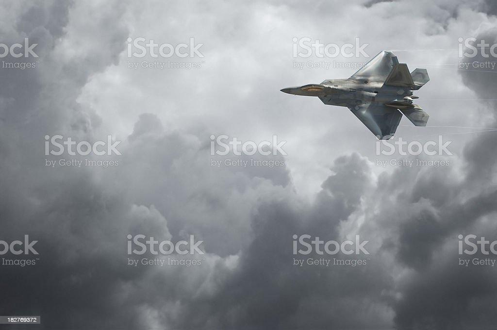 F-22 Raptor Against Dramatic Sky stock photo