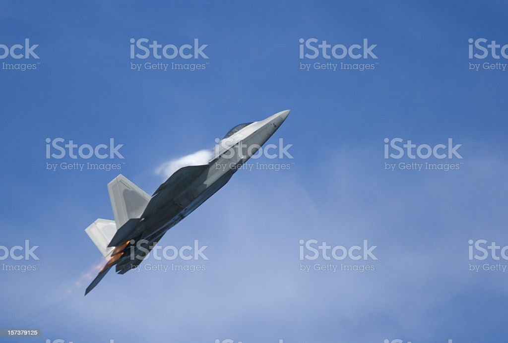 F-22 Raptor Fighter Jet Climbing royalty-free stock photo