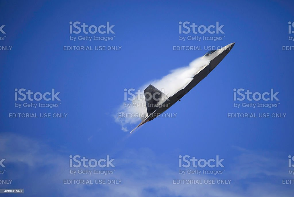 F-22 Raptor in flight over Hawaii royalty-free stock photo