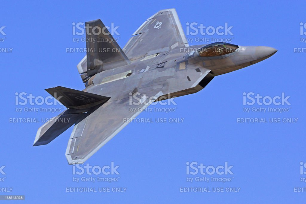 F-22 Raptor Stealth flying at 2015 Chino Air Show stock photo
