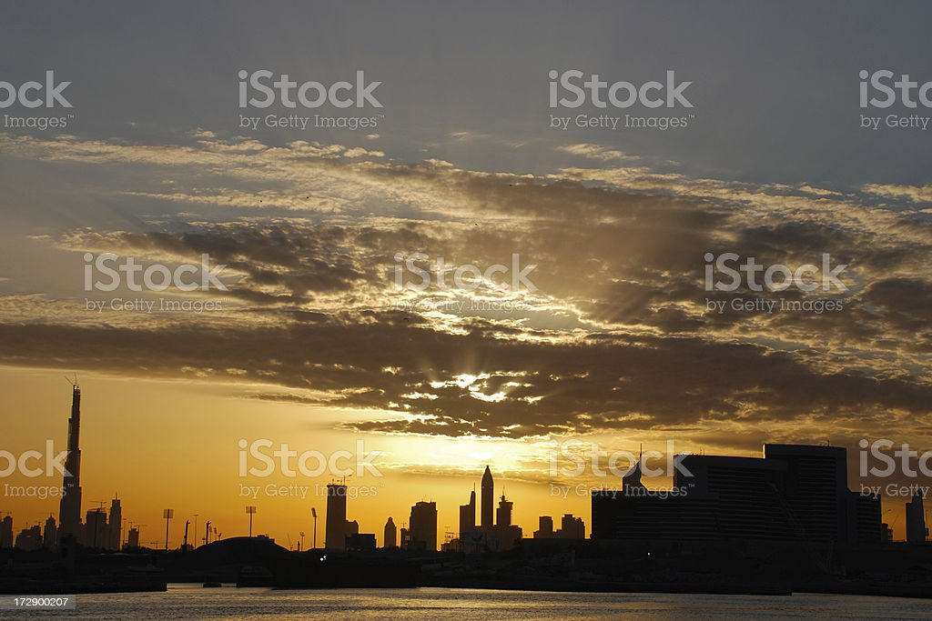 Rare Cloudy Sunset royalty-free stock photo