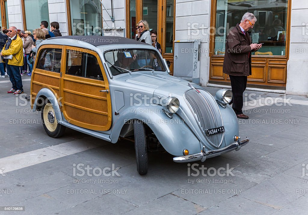 Rare Fiat Topolino with wooden doors stock photo