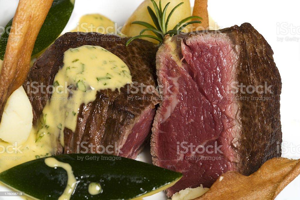rare fillet steak stock photo