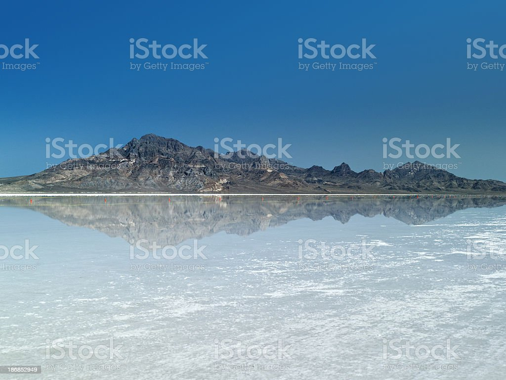 Rare lake on the salt flats stock photo