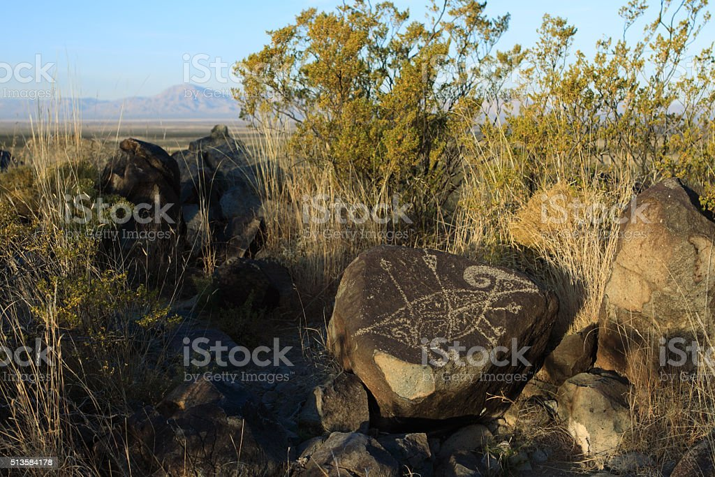 Rare Native American hunting bighorn petroglyph Alamogordo New Mexico stock photo