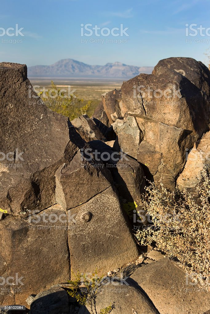 Rare Native three-dimensional bighorn petroglyph Alamogordo New Mexico stock photo