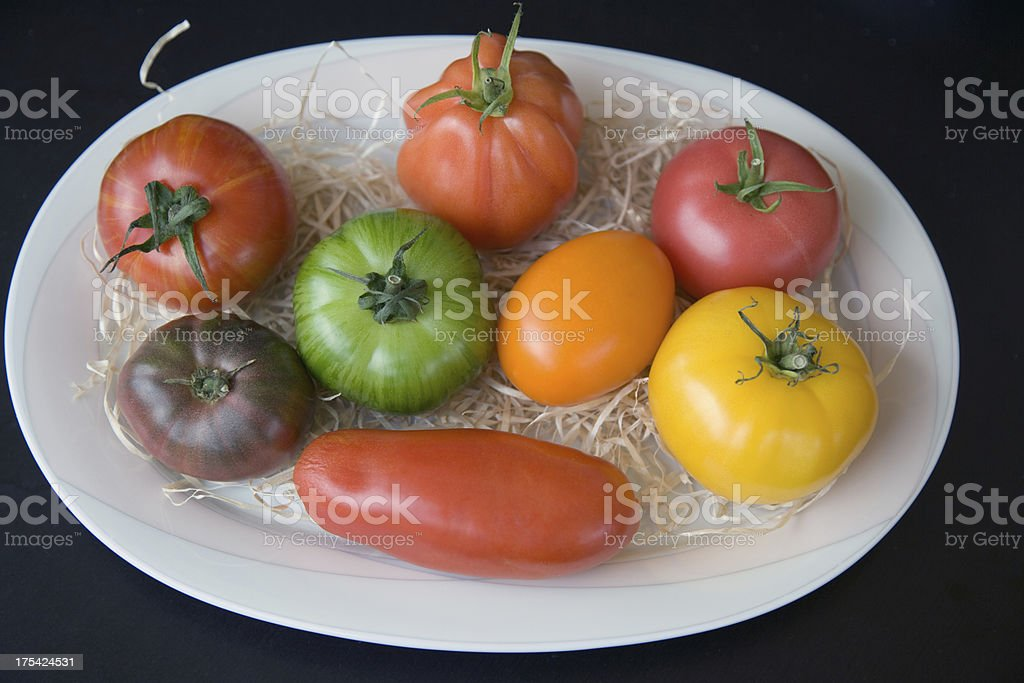 Rare old varieties of tomatoes stock photo