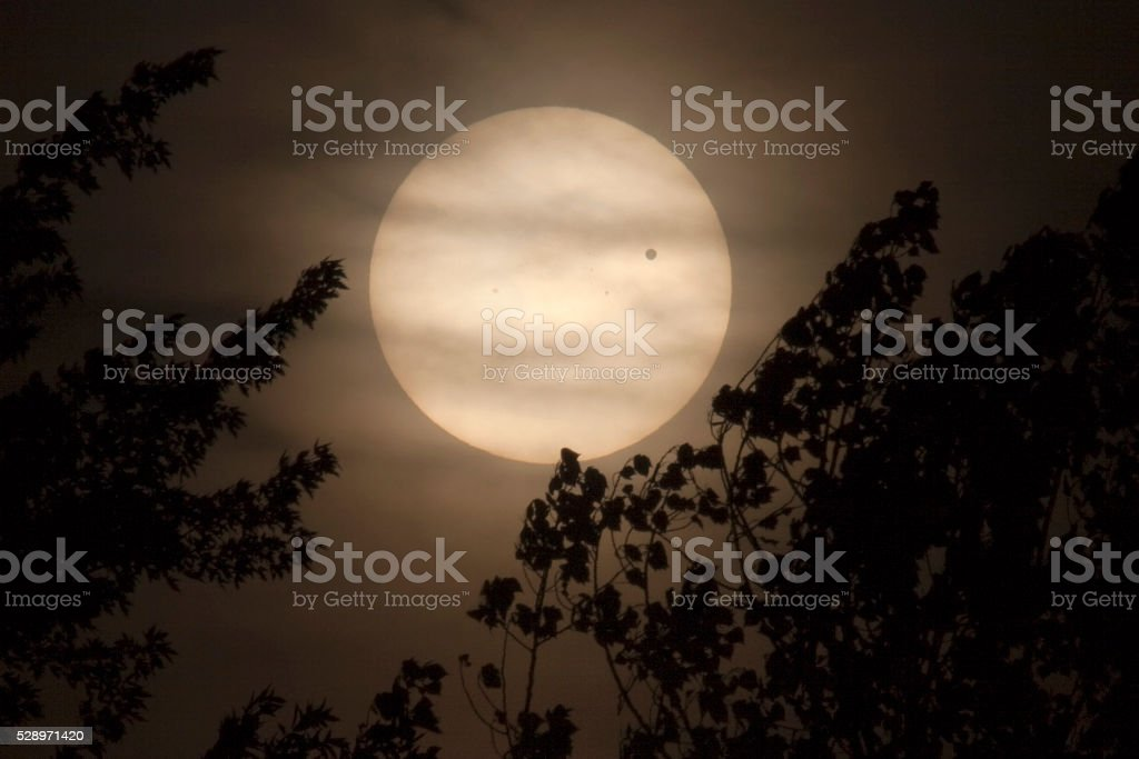 Rare planet Venus transit orbit across sun Denver Colorado stock photo