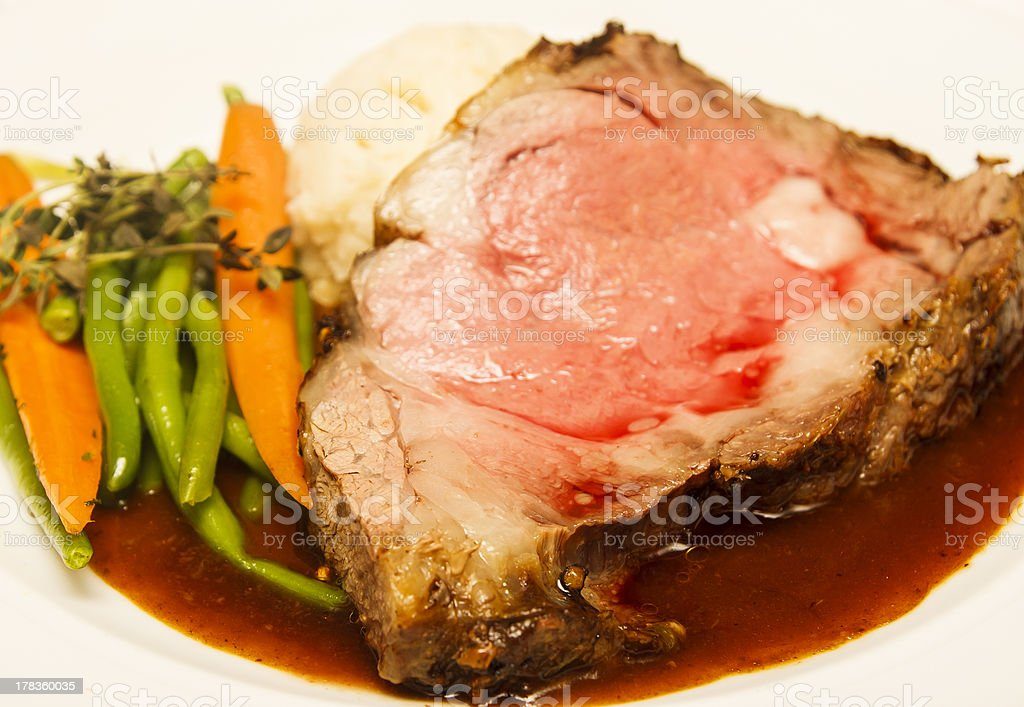 Rare Prime Rib with Vegetables stock photo