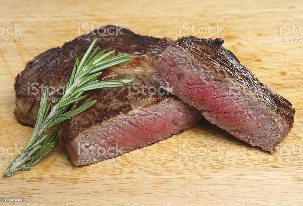 Rare Ribeye Beef Steak royalty-free stock photo