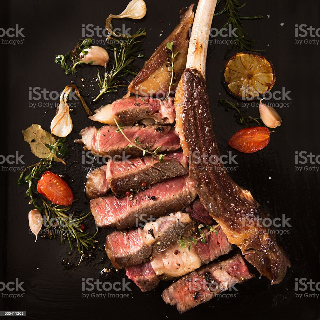 Rare steak stock photo