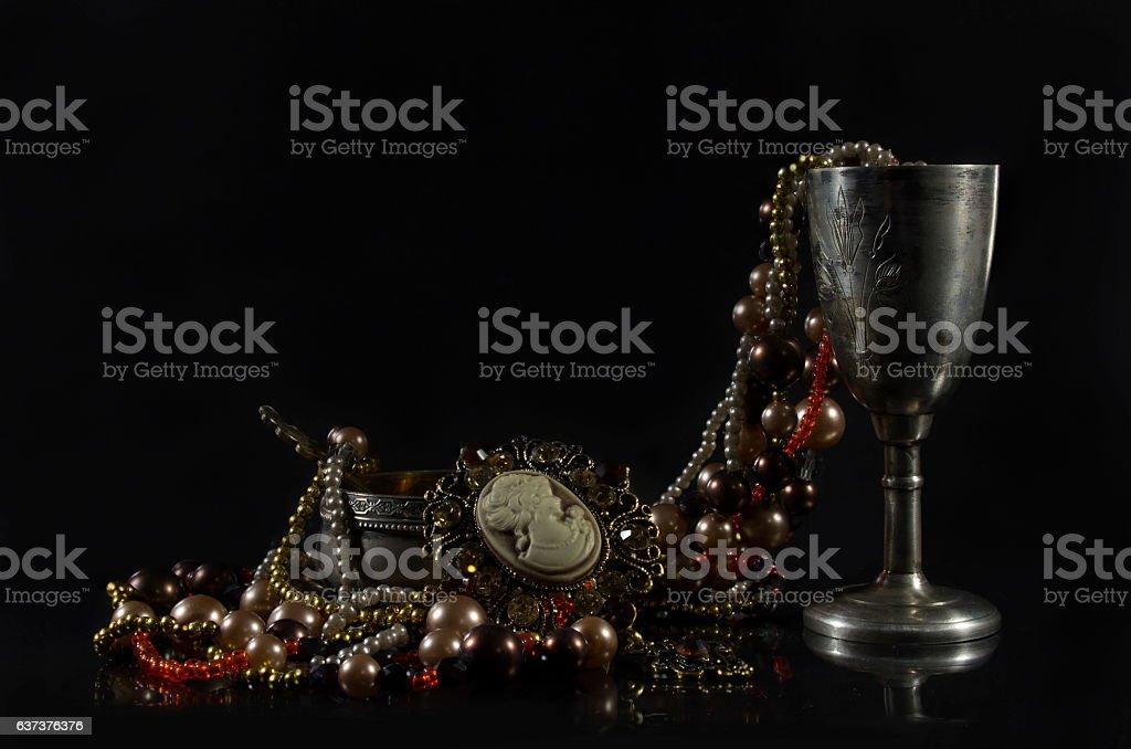 Rarity tableware with jewelry. stock photo