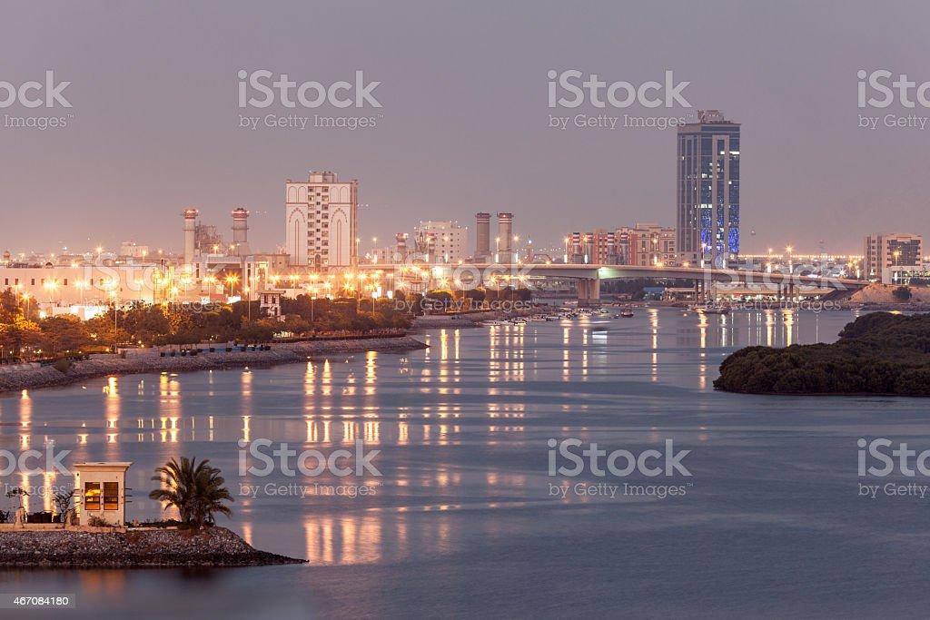 Ras Al Khaimah creek at dusk stock photo