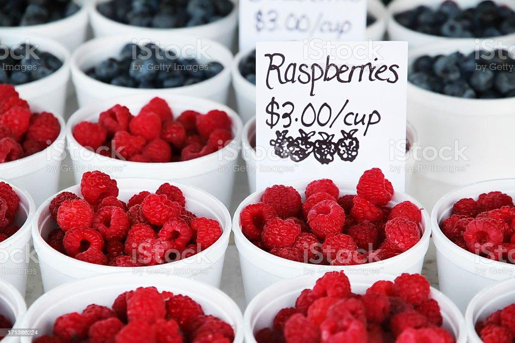 Rasberries at the market. royalty-free stock photo