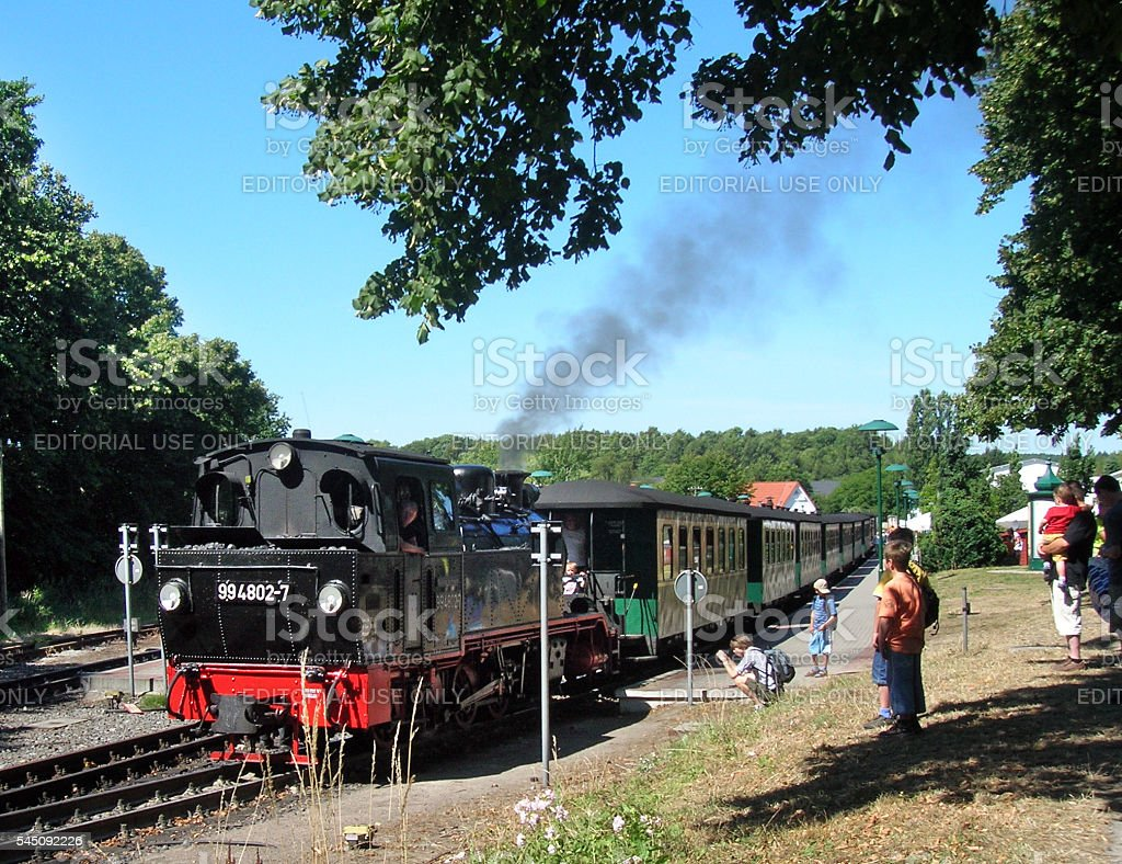 Rasende Roland steamtrain at Ruegen island stock photo