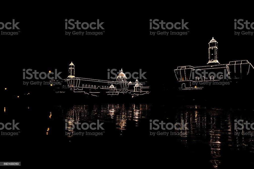 Rashtrapati Bhawan decorated with lights stock photo