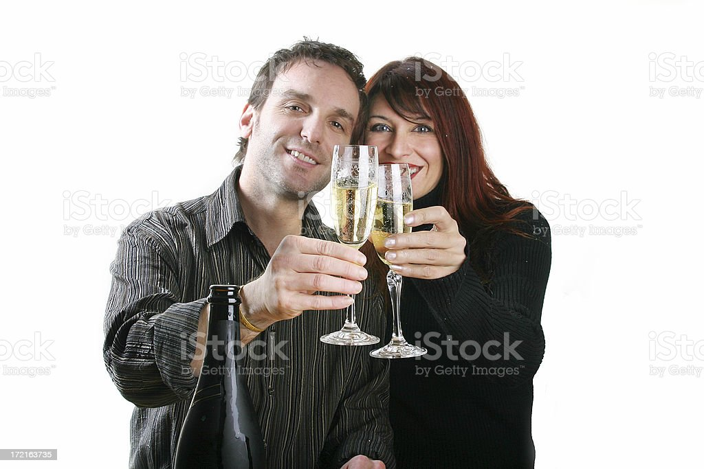 Rasing glasses in toast royalty-free stock photo