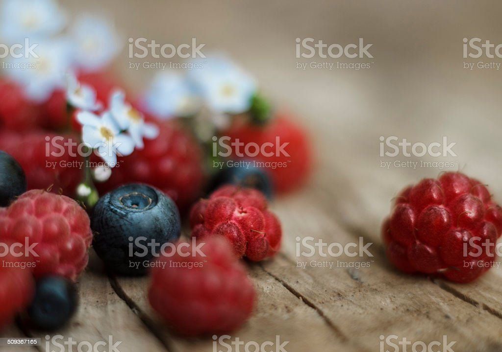Raspberries and blueberries with flowers on wooden stump stock photo