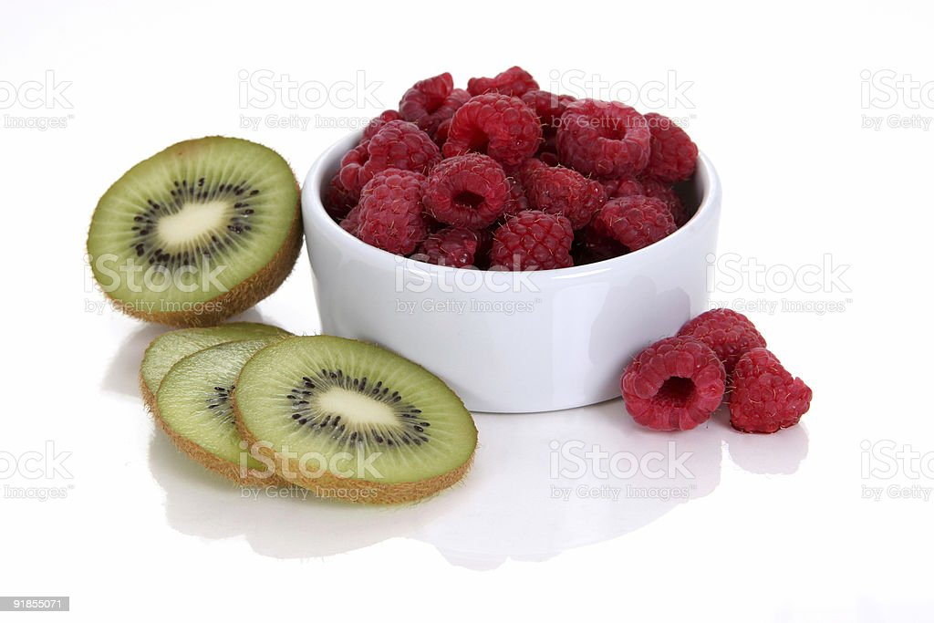 Raspberries and kiwis 2. stock photo