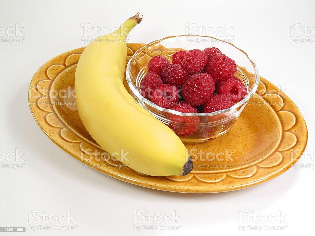 Raspberries & Banana royalty-free stock photo
