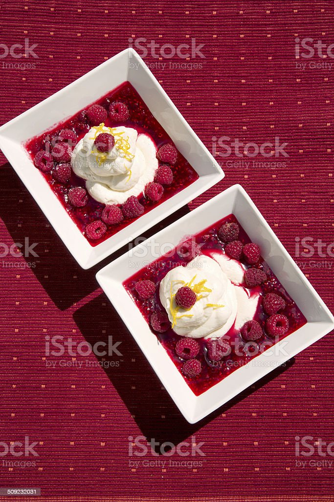 Raspberries dessert stock photo