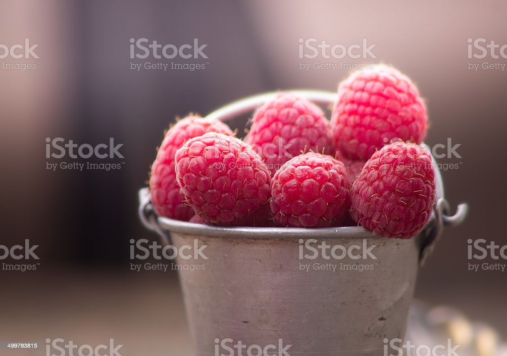 raspberries in metallic old bucket, closeup royalty-free stock photo