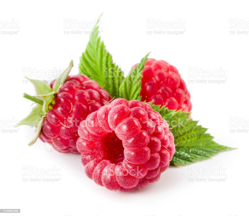 Raspberries isolated on white stock photo