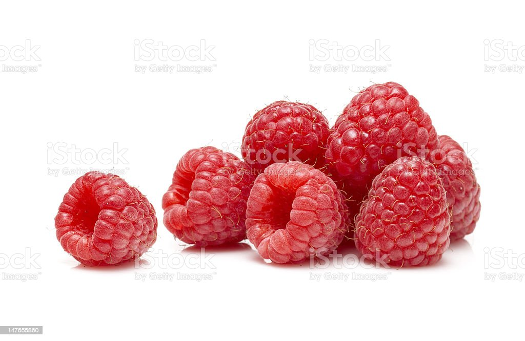 Raspberries on white background stock photo
