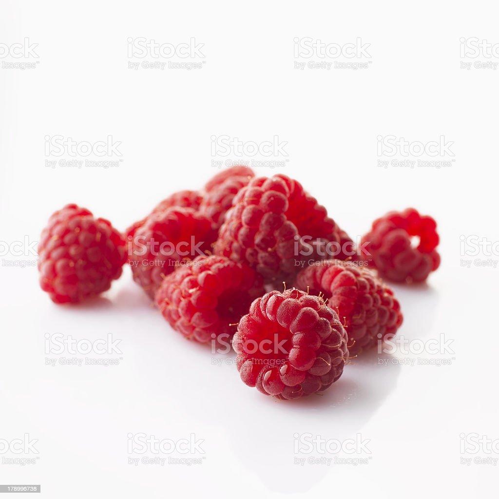 Raspberries on white background royalty-free stock photo