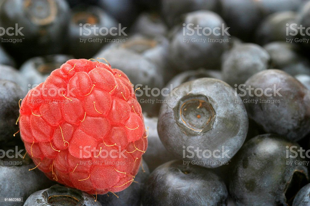 Raspberry and Blueberries royalty-free stock photo