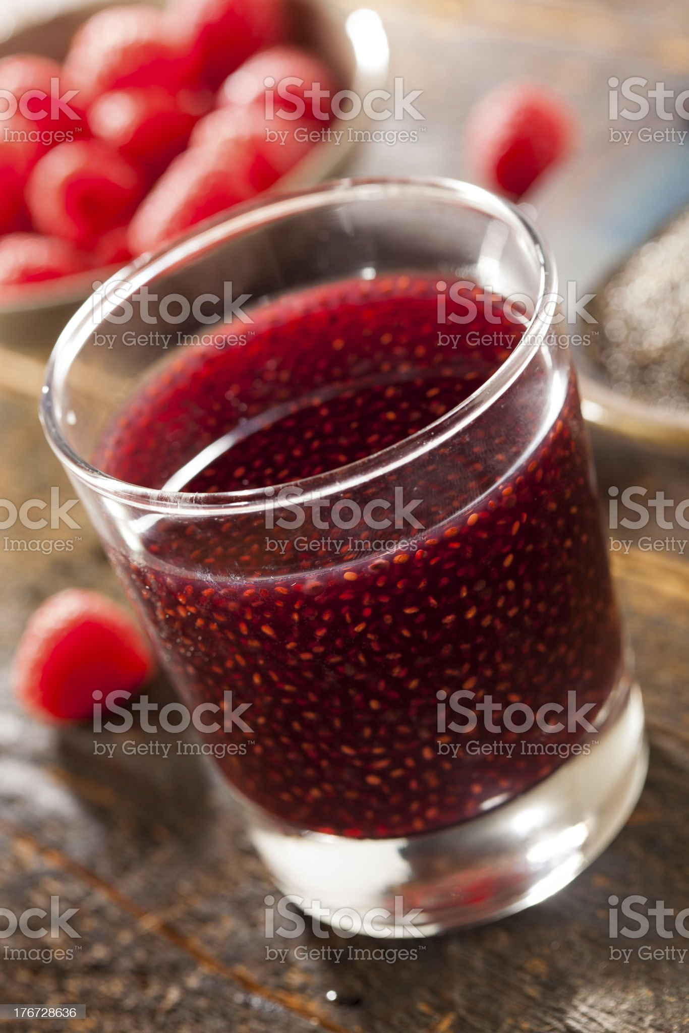 Raspberry and Chia Seed Beverage royalty-free stock photo