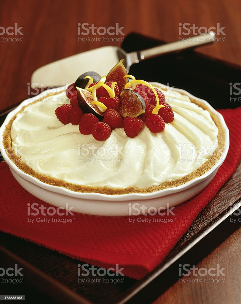 Raspberry and fig Cream pie royalty-free stock photo