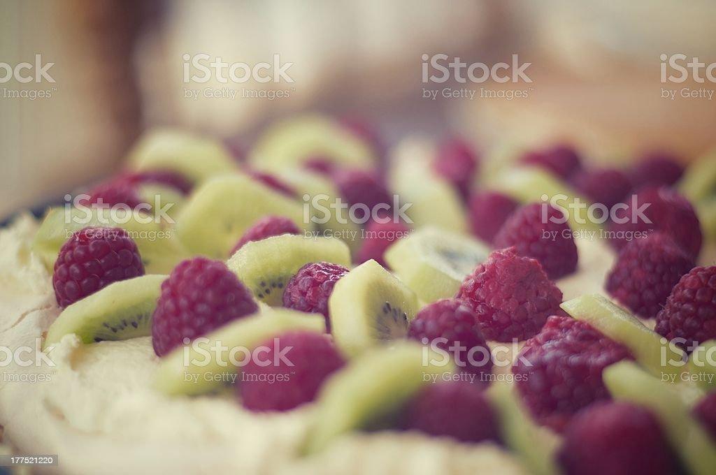Raspberry and kiwi pavlova royalty-free stock photo