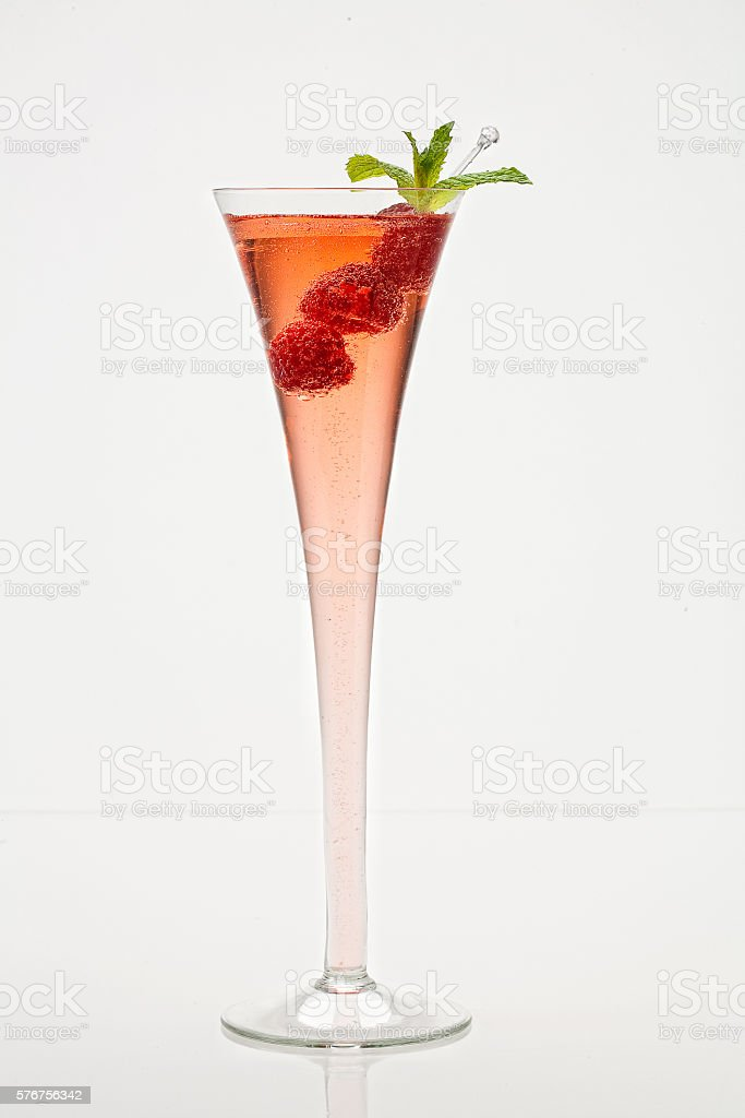 Raspberry Bellini stock photo