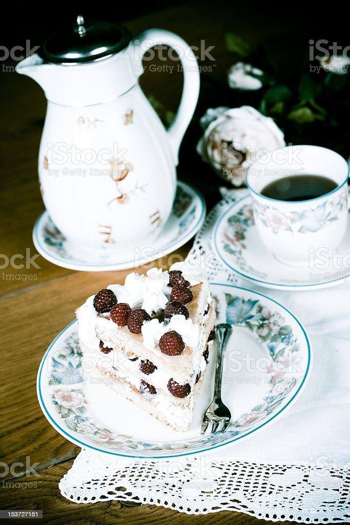 Raspberry cake and tea royalty-free stock photo